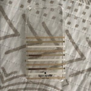 Kate Spade stripped iPhone X case gold & white
